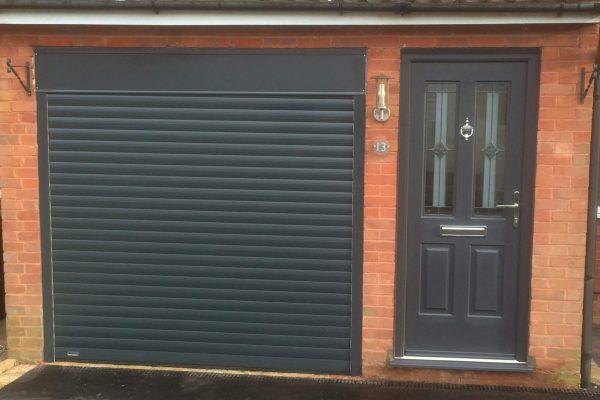 Rockdoor composite front door and matching roller door