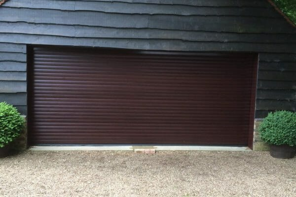 Aluroll roller door in mahogany