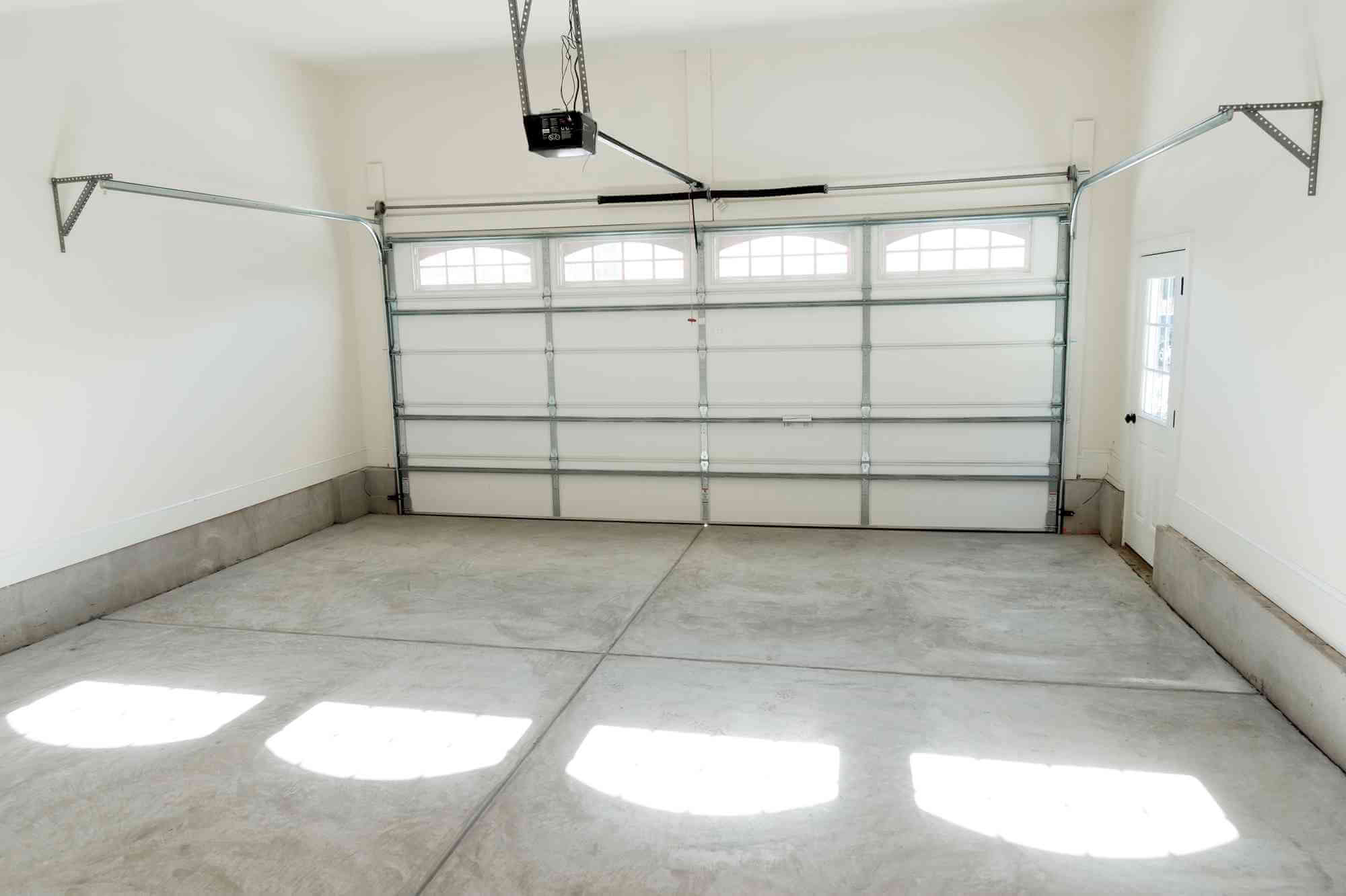 white modern minimalist garage interior with up and over garage door
